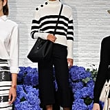 A classic striped sweater and culottes.