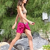 Lily Aldridge wore a leopard bikini in St. Barts in May while at a Victoria's Secret photo shoot.