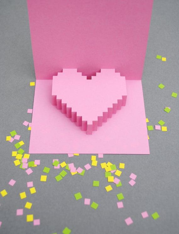 Pixel Pop-Up Heart Valentine's Printable