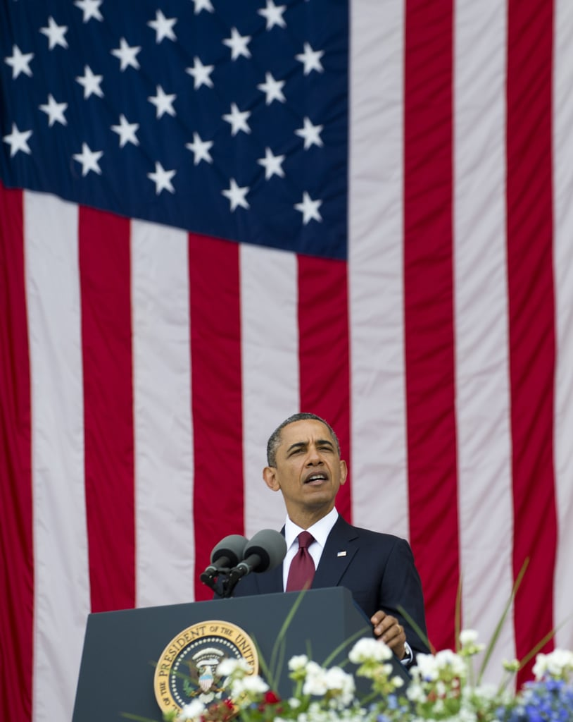 The president addressed the solemn crowd on Memorial Day.