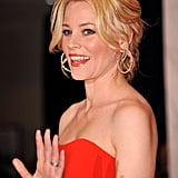 Elizabeth Banks waved to the camera.