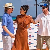 David Spade, Salma Hayek, and Adam Sandler mingled at a Cancun photocall for Grown Ups 2.