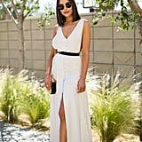 Olivia Culpo wore a white shirtdress and embellished loafers to the House of Harlow 1960 x Revolve brunch.