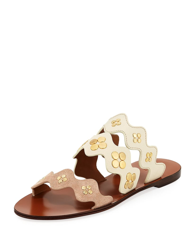 Chloé Lauren Studded Three-Band Flat Sandals