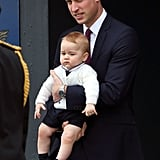 William and George both had matching facial expressions departing New Zealand in 2014.