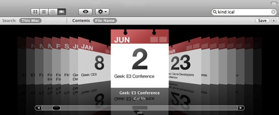 Use Coverflow to Search iCal Events