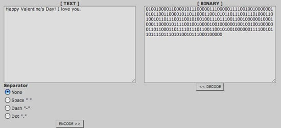 Encode Messages in Binary Code
