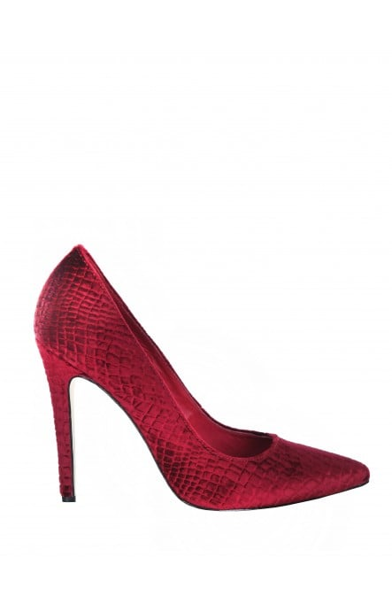 We love the idea of wearing these hot red Alice + Olivia Devon Heels ($295) with cropped trousers and a chunky knit sweater.