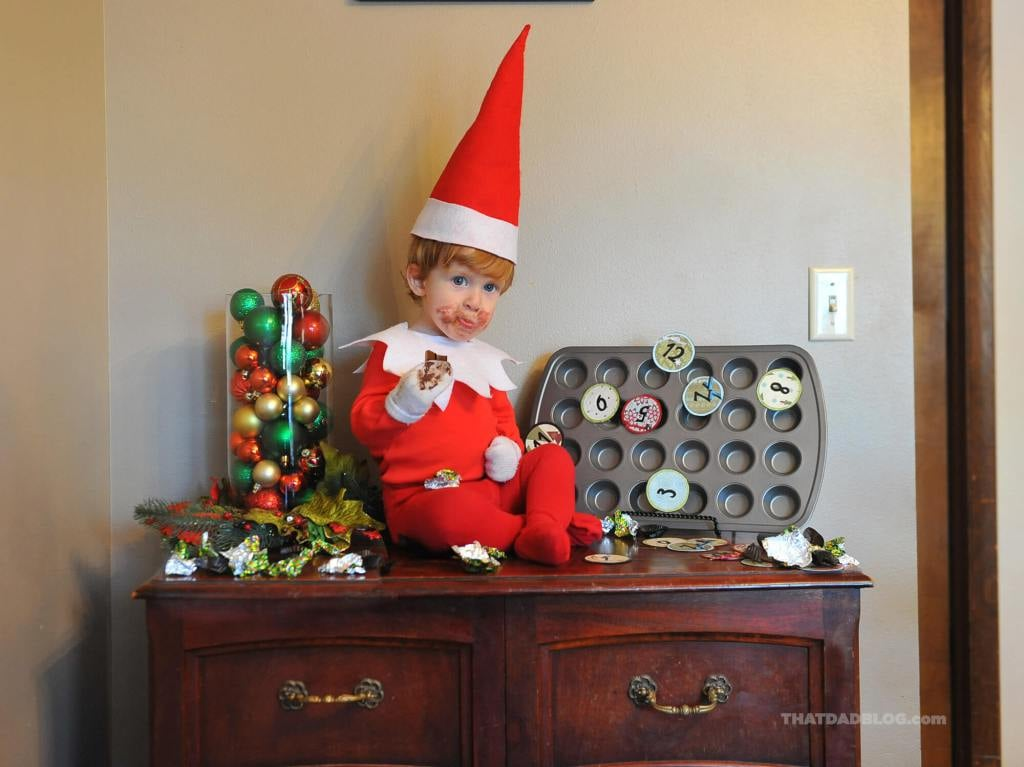 "By now, your Elf on the Shelf has probably wreaked havoc on your home and made tons of reports back to Santa about your kid's behavior. Though your elf (read: you) may be getting a little tired — because honestly, how many places can he move around to in the same house? — the elf in the Lawrence home isn't even close to tiring out. Every single day, Rockwell the Elf pops up in a new place — like sitting atop the shower curtain rod or drinking maple syrup while lounging in the fruit bowl — but that's because he's no ordinary Elf on the Shelf. Rockwell is real. Alan Lawrence, blogger at That Dad Blog and father of six, created the most adorable Elf on the Shelf journey for his kids last year using his real-life 4-month-old son, Rockwell, as the elf (Alan is no stranger to crazy-cool photo shoots, as he created an entire series of photos in which his son Wil can fly). The family had never had an Elf on the Shelf before, but Alan told POPSUGAR Moms he was always intrigued by the idea. "". . . One day someone told us that Rockwell looked like an elf and the idea came to me. What if a real life elf came to live with us for the holidays, and how would I react in real life to having it show up to live with us?"" After the photos of Rockwell went viral in 2015, Alan decided to continue the tradition in 2016 with then 15-month-old Rockwell and is hoping that he can compile all of the images into a children's book. This year, rather than take photos every day, Alan has videoed a 2-year-old Rockwell elf in action (see him covering the family's tree with toilet paper, eating all of the sugary cereal, and refusing to let anyone get some sleep). Read through to see the pictures of Rock the Elf from years past and be sure to check Alan's blog, Instagram, and Facebook for more!      Related:                                                                                                           40 Elf on the Shelf Ideas That Will Make You and the Kids LOL"