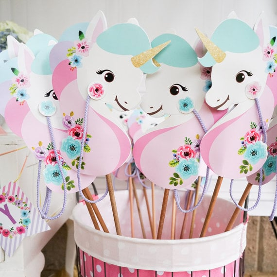 image relating to Printable Unicorn titled Printable Unicorn Birthday Get together Decorations POPSUGAR