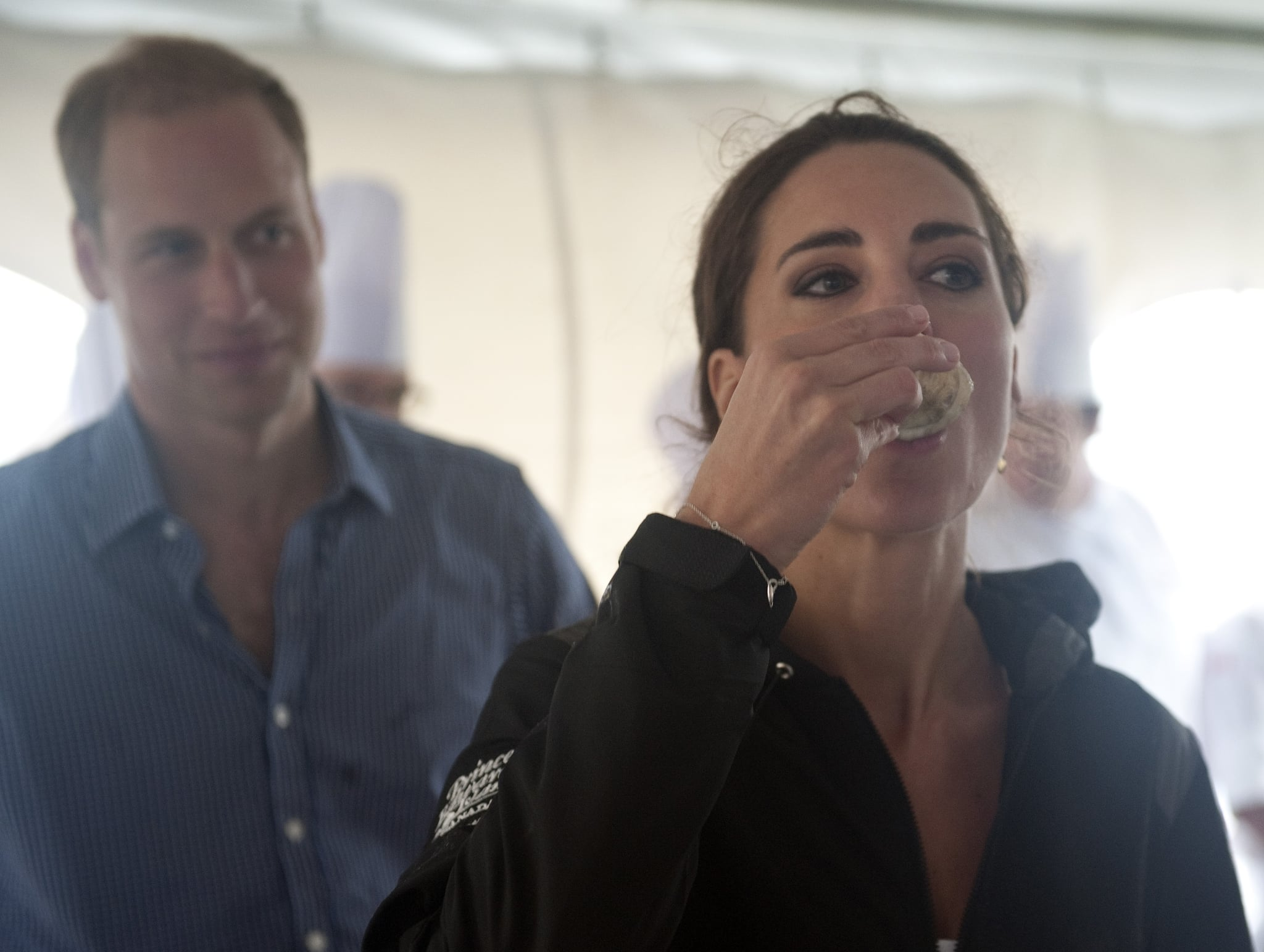 DALVAY BY THE SEA, PE - JULY 4: Prince William, Duke of Cambridge and Catherine, Duchess of Cambridge meet with local chefs in the culinary station where the Duchess tried a local oyster, on July 4, 2011 at Dalvay by the Sea, Prince Edward Island , Canada. The newly married Royal Couple are on the fifth day of their first joint overseas tour. The 12 day visit to North America is taking in some of the more remote areas of the country such as Prince Edward Island, Yellowknife and Calgary. The Royal couple started off their tour by joining millions of Canadians in taking part in Canada Day celebrations which mark Canada's 144th Birthday.  .(Photo by Mark Large-Pool/Getty Images)