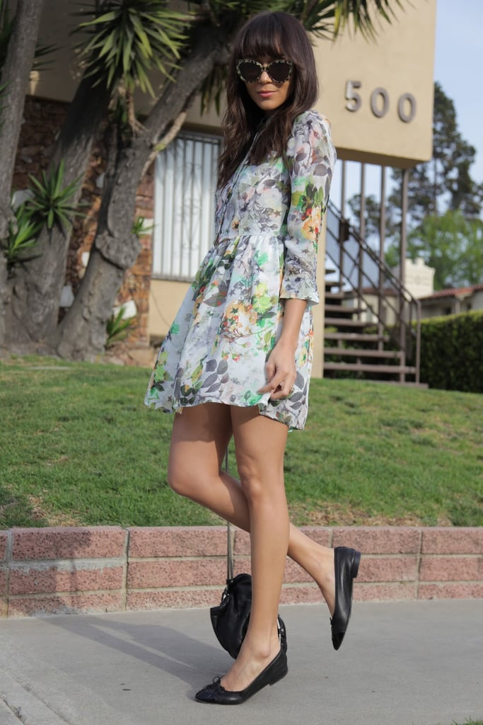 Ashley Madekwe capitalized on the season with a printed day dress and easy ballet flats. Source: Ring My Bell