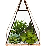 Faux Mixed Succulents in Pyramid Glass Pot