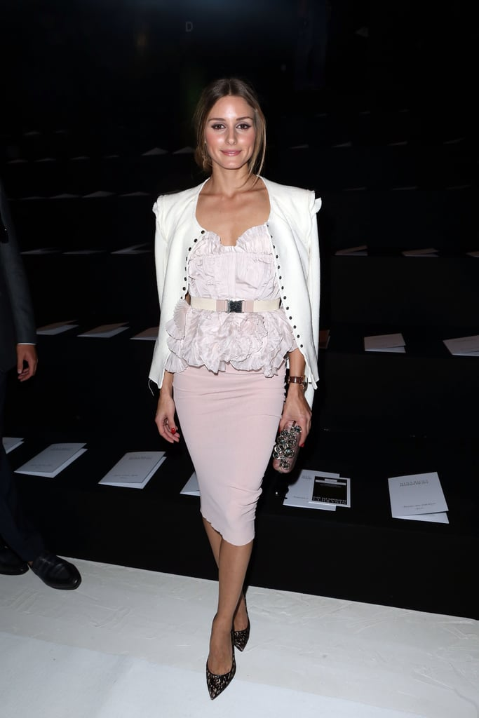Olivia Palermo made us yearn for the frilly and girlie in her soft pink ensemble at the Nina Ricci Spring 2014 show during Paris Fashion Week.