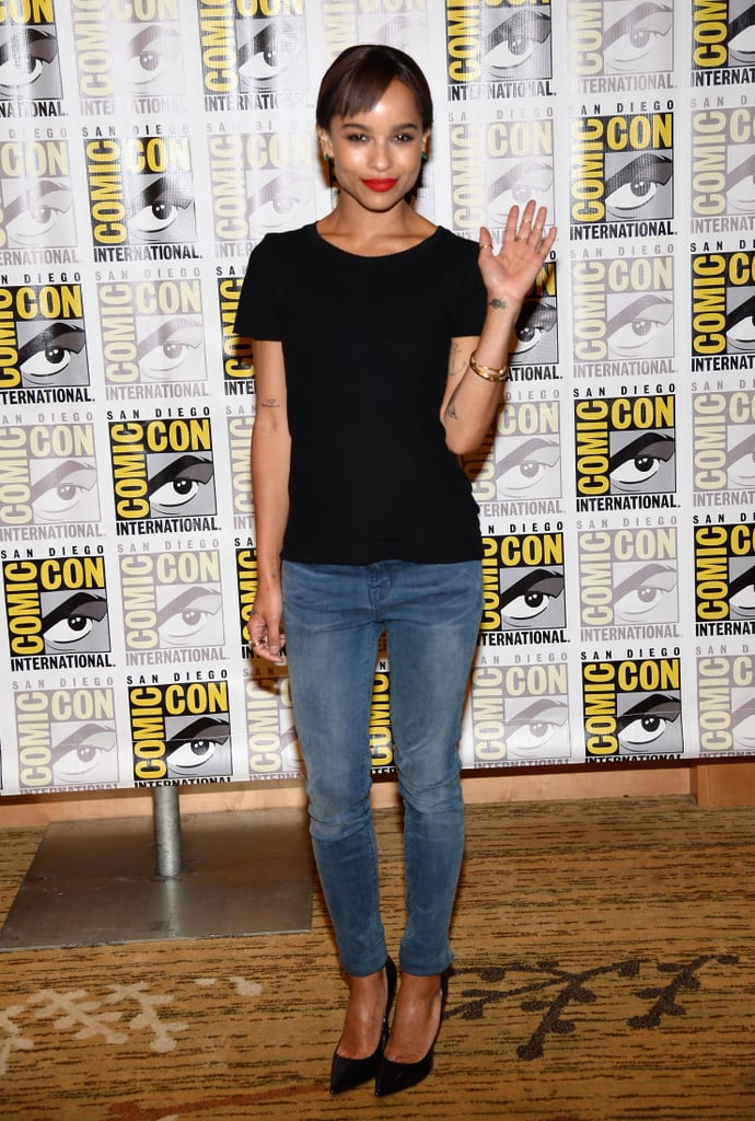 Zoe Kravitz gave a wave from the press line at Comic-Con.
