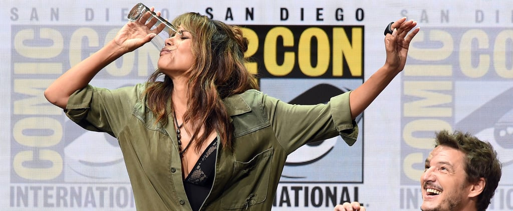 Halle Berry Schools the Boys in the Art of Drinking by Chugging Whiskey at Comic-Con