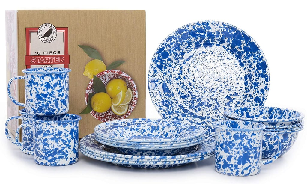 Crow Canyon Home Enamelware 16-Piece Dinnerware Starter Set