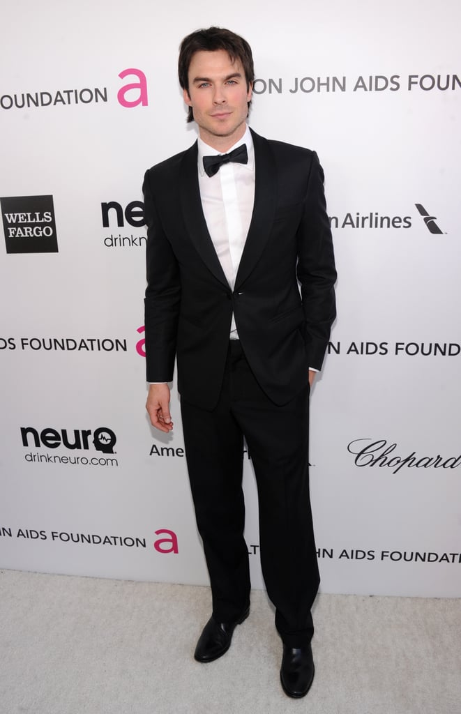 Ian Somerhalder wore a tux for Elton John's Oscar party.