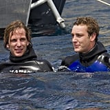 Andrea and his brother, Pierre, chilled in the water off Monaco after diving from a helicopter in 2011.