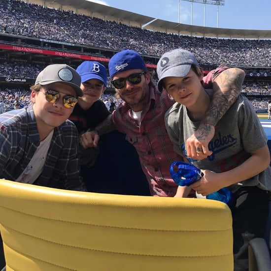David Beckham and His Family at Dodgers Game Photo 2017