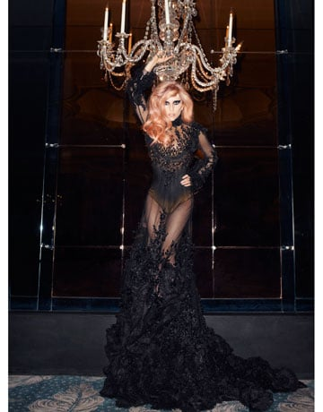 Going all out glam in Indonesian designer Tex Saverio's sheer gown.