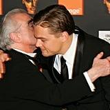 Leonardo DiCaprio held onto his longtime collaborator Martin Scorsese at the BAFTA Awards in February 2005.