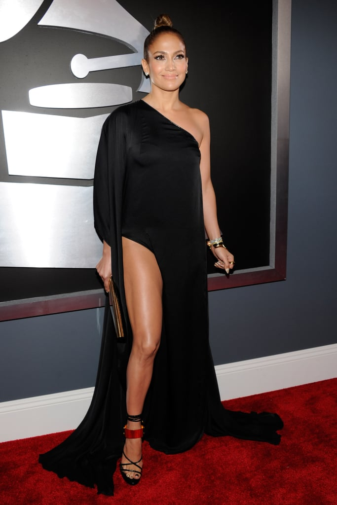 J Lo posed for cameras on the red carpet.