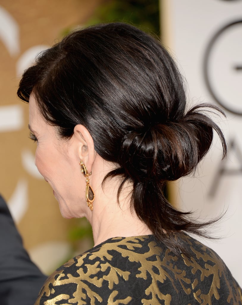 Julianna's rolled chignon looks easy enough to mimic at home — score!