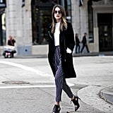 A White Shirt, Striped Pants, a Black Blazer, and Heels