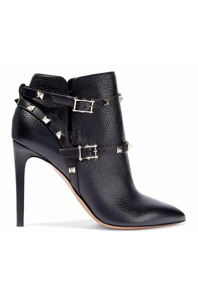 9bbb3813917e Valentino Rockstud Pebbled-Leather Ankle Boots