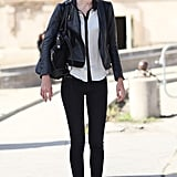 This polished mix got a touch of cool-girl appeal via slouchy boots and a leather jacket.