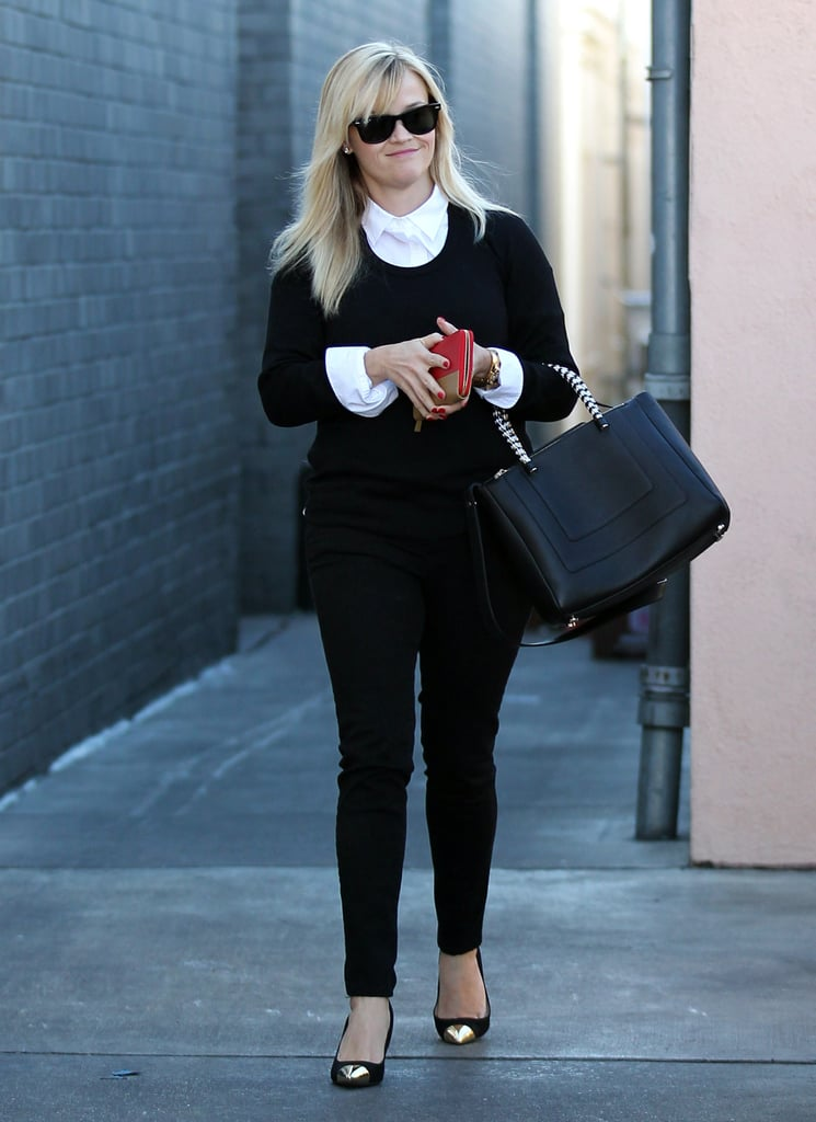 Reese Witherspoon paired her metallic-toed pumps with a black and white ensemble to run errands in LA yesterday. She has been getting into the holiday spirit by shopping and spending time with family recently. Last week, Reese wore stylish purple heels for some shopping before a lunch date with her boys, husband Jim Toth and son Deacon Phillippe. It's a special time for her family as they are celebrating their first holiday season with baby Tennessee. Reese gave birth to her first child with Jim back in September, and she was just one of many pregnant stars in 2012 — check out the rest!