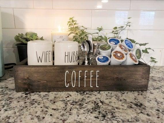 Rustic Coffee Farmhouse Kitchen Counter Coffee Box