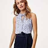 Loft Dotted Twist Mixed Media Top