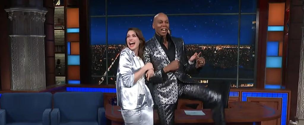 RuPaul Surprising Anne Hathaway on Colbert Video
