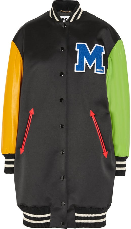 91ed92f06 Moschino Appliquéd Wool-Blend Satin and Leather Bomber Jacket ...