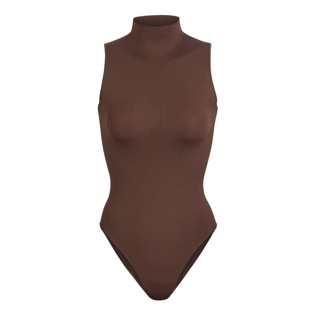 SKIMS Sleeveless Mock Neck Bodysuit in Smokey Quartz