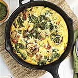 Pesto, Bacon, and Zucchini Noodle Frittata With Mushrooms and Kale