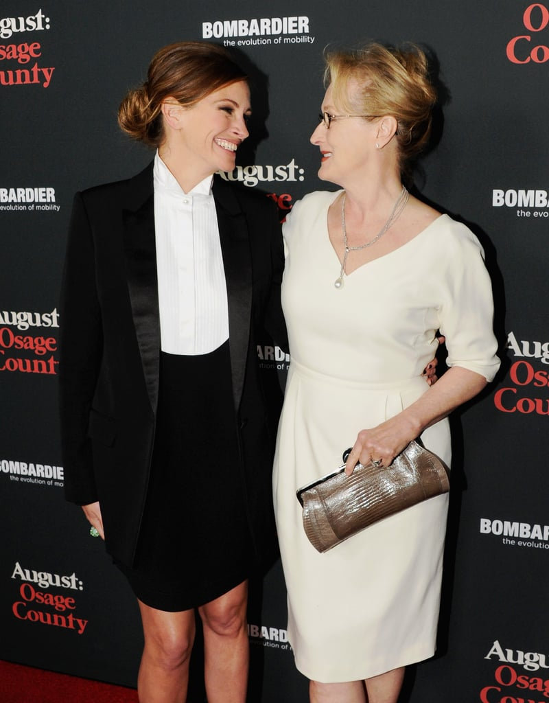 Julia smiled on the red carpet with her August: Osage County costar Meryl Streep at the film's LA premiere in December 2013.