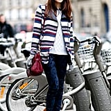 Striped outerwear and paisley-print denim made this far more interesting than your average sweater and denim combos.