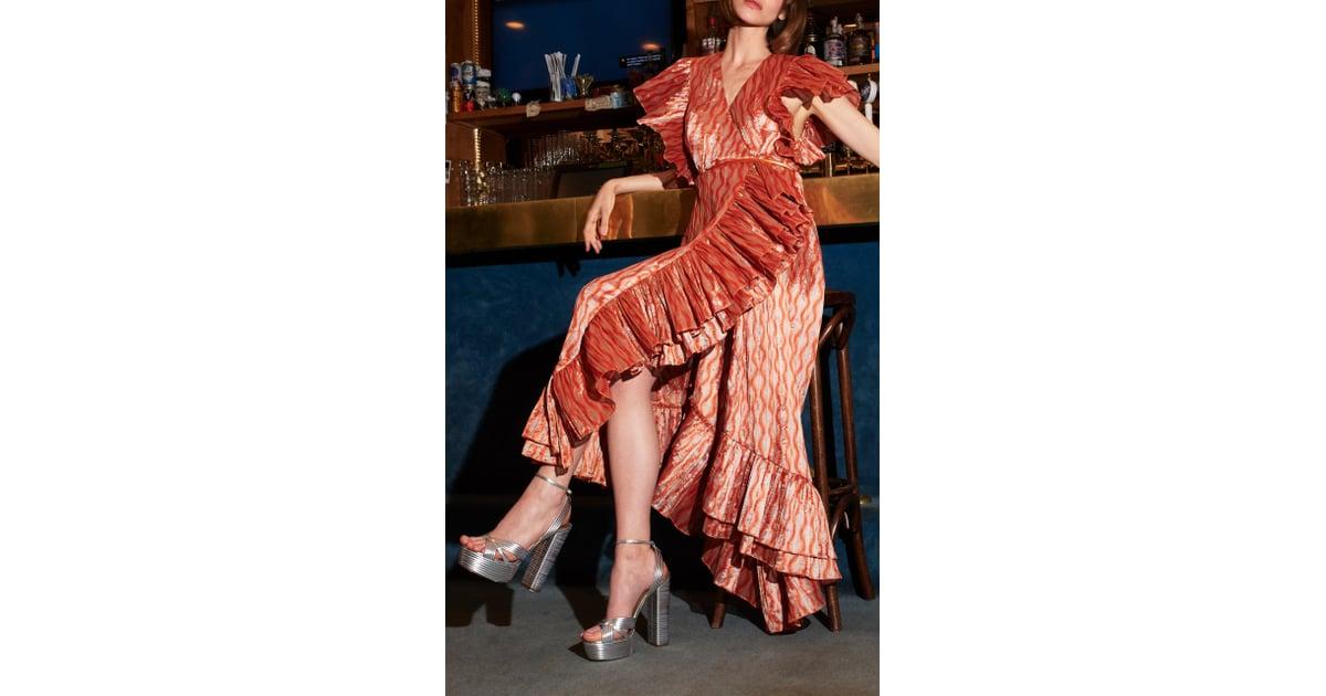 c9f3f805e9 Markarian Dietrich Ruffled Satin-effect | Priyanka Chopra Maxi Dress ...
