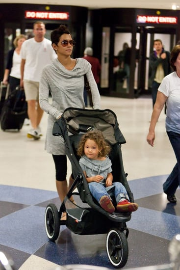 Halle, Nahla and Gabriel at LAX