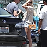 Michael Polish and Kate Bosworth headed back to their car after picking up lunch in LA.