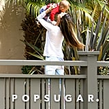Alessandra Ambrosio kissed her son, Noah, in LA.