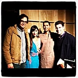New Girl's Hannah Simone posed with castmates and producer Pavun Shetty. Source: Instagram user therealhannahsimone