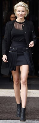 Cameron Diaz Black Fringe Dress in Paris