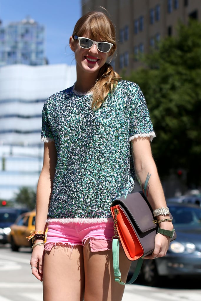 We spy a bright colorblocked clutch that upped the ante on this already-color-infused style.