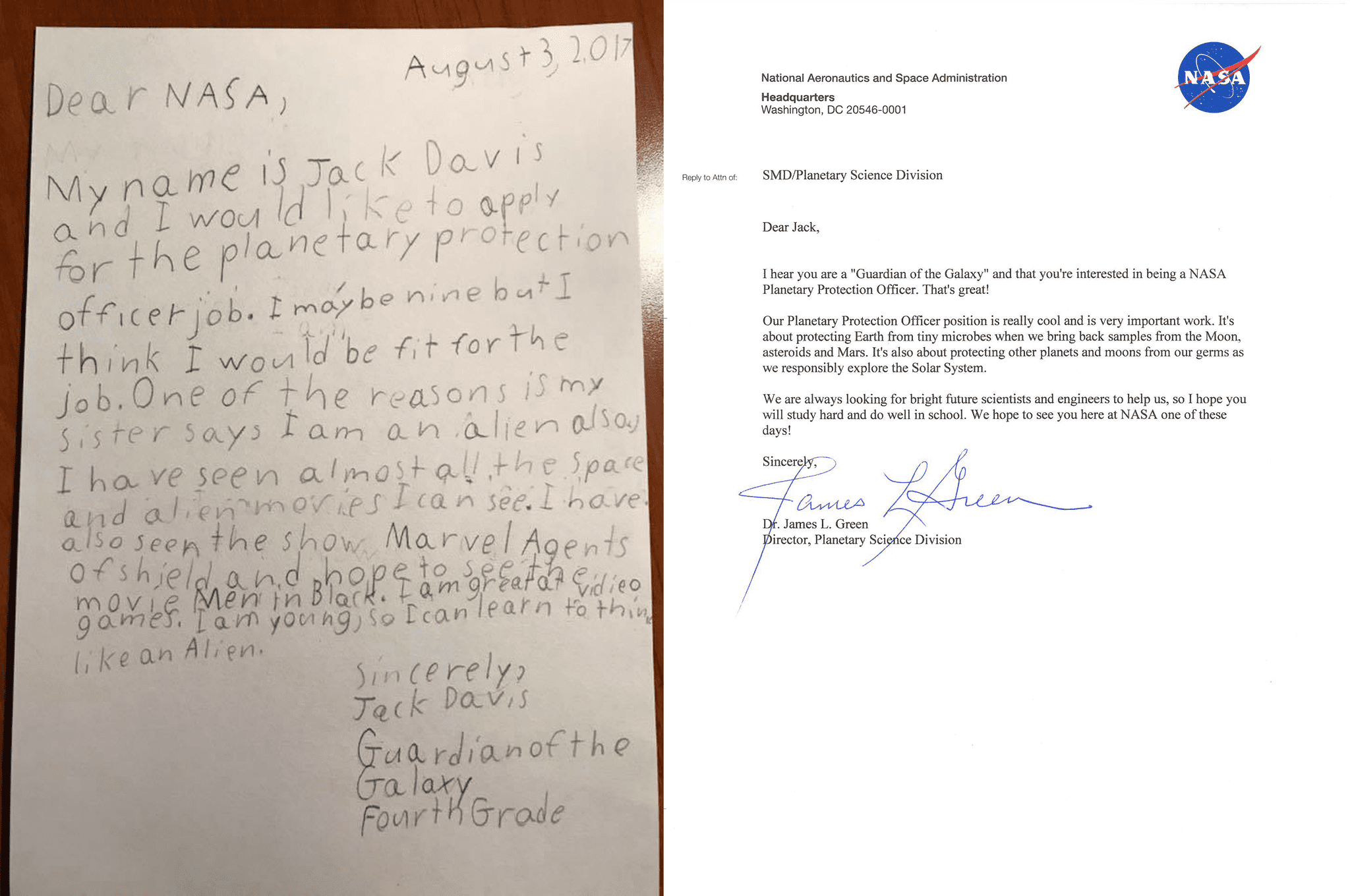 NASA replies to 9-year-old 'Guardian's' job application