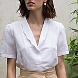 Pixie Market Scalloped Collar Linen Shirt
