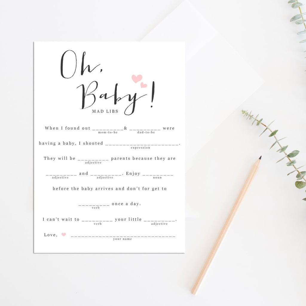 image about Printable Baby Shower identified as Printable Child Shower Game titles POPSUGAR Loved ones